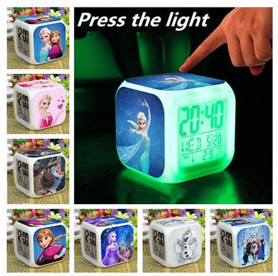 Good Quality Frozen Alarm Clock LED 7 Colors Change Digital Alarm Clock frozen Anna Elsa Thermometer Night Colorful Glowing Toys Sales