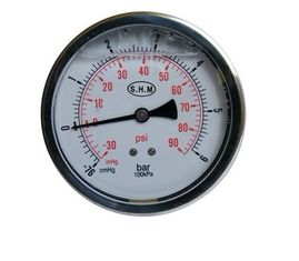 50mm White Aluminium Dials Gaseous Liquid-Filled Pressure Gauge With Glass Window supplier