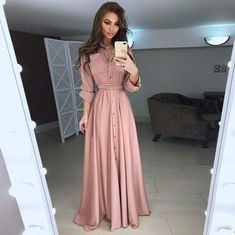 2018 Autumn and Winter Women Long Dress Casual Long Sleeve Slim Dress Ladies Fashion Botton Maxi Long Dress supplier