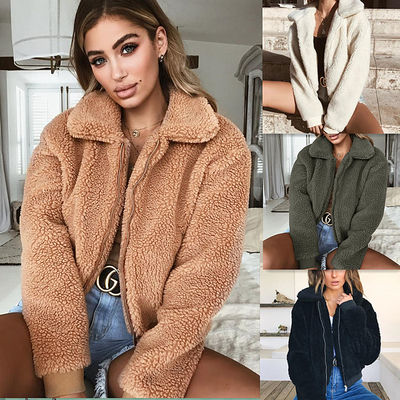 China Wholesale 2018 fashion sexy women turn-down collar winter warm woolen coats (C18723) factory